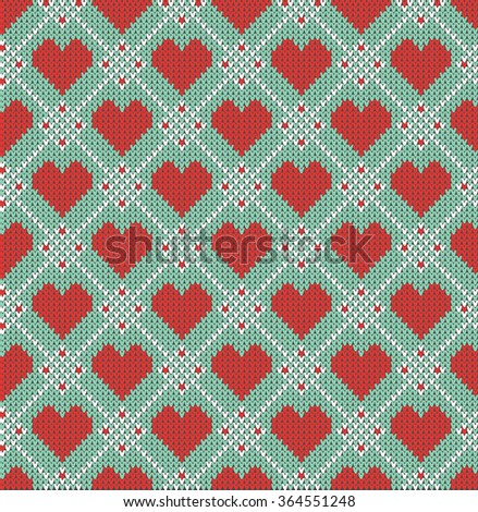 Seamless pattern on the theme of holiday Valentine's Day with an image of the Norwegian and fairisle patterns. Hearts on a turquoise background. Wool knitted texture. Vector Illustration - stock vector