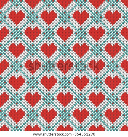 Seamless pattern on the theme of holiday Valentine's Day with an image of the Norwegian and fairisle patterns. Red hearts on a white and turquoise background. Wool knitted texture. Vector Illustration - stock vector