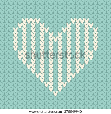 Seamless pattern on the theme of holiday Valentine's Day with an image of the Norwegian and fairisle patterns. White heart on a turquoise background. Wool knitted texture. Vector Illustration - stock vector