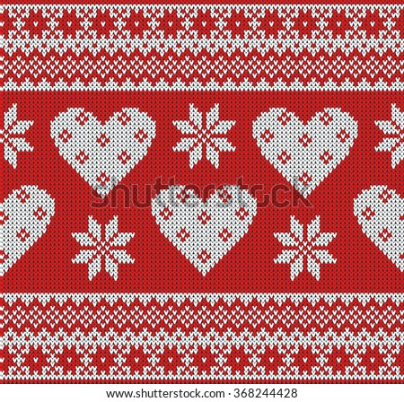 Seamless pattern on the theme of Valentine's Day with an image of the Norwegian and fairisle patterns. White hearts and snowflake on a red background. Wool knitted texture. Vector Illustration. - stock vector