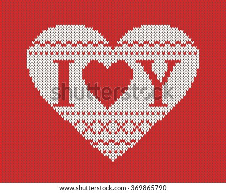 Seamless pattern on the theme of Valentine's Day with an image of the Norwegian patterns and hearts. The inscription I love you. Wool knitted texture - stock vector