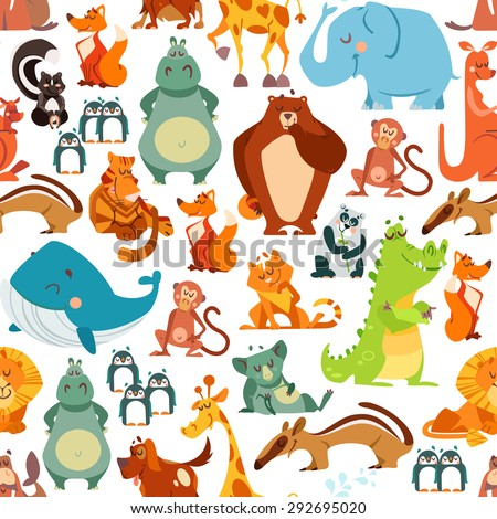 Seamless pattern or background with cute kawaii animals from around the world. Vector illustration for kids design, poster, textile or package design - stock vector
