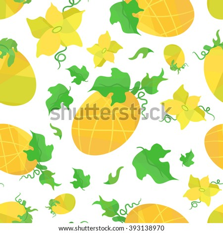 Seamless pattern orange melons and flowers in origami style