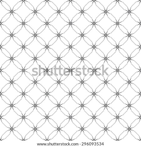Seamless pattern. Original texture with small dots. Repeating geometrical shapes, dots, dotted rhombuses, crossed circles, ovals. Monochrome. Backdrop. Web. Vector element of graphic design - stock vector