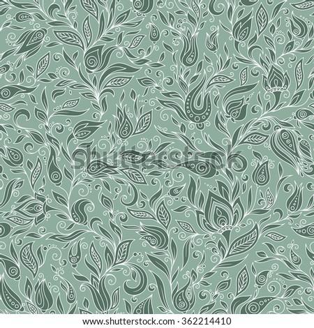 Seamless Pattern. Paisley Flowers Illustration Design Elements - stock vector