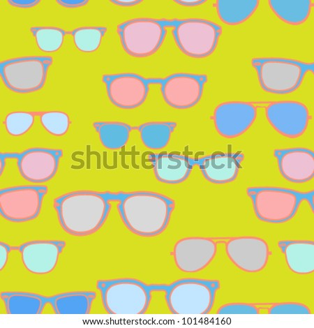 Seamless pattern - pastel colored vintage trendy sunglasses/eyeglasses on neon green background - vector illustration. - stock vector