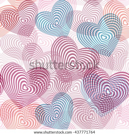 seamless pattern pink blue purple white heart on white background. Optical illusion of 3D three-dimensional volume. Geometric abstract background for site, blog, fabric. Vector - stock vector