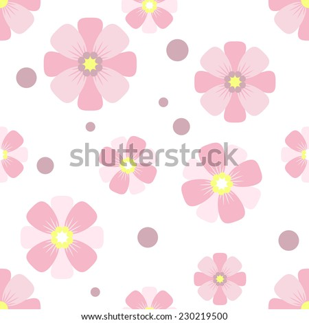 Seamless pattern. Pink flowers on a white background. Vector.