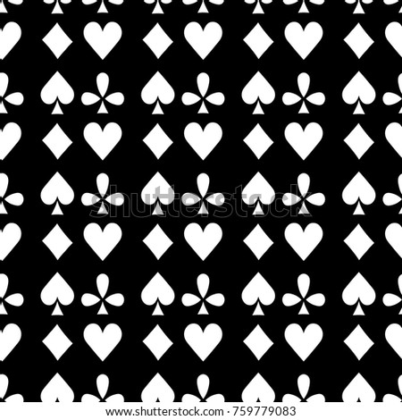 seamless pattern playing cards suit Bubi, hearts, crosses, blame. vector illustration