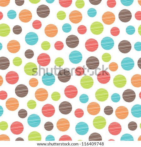 Seamless pattern, polka dot fabric, wallpaper, vector. - stock vector