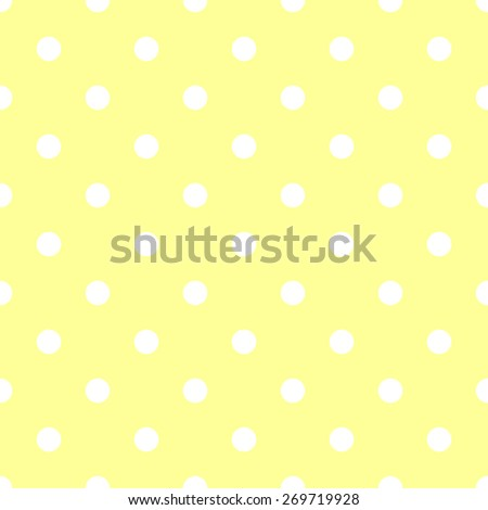 Seamless pattern polka dot style pale yellow and white - stock vector