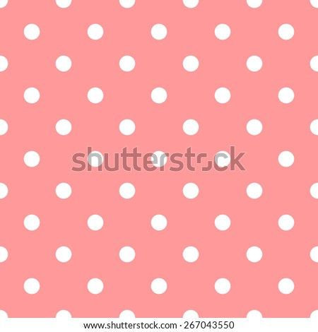 Seamless pattern polka dot style peach and white - stock vector