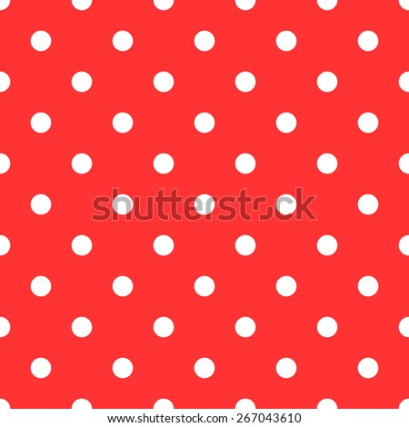 Seamless pattern polka dot style red and white - stock vector
