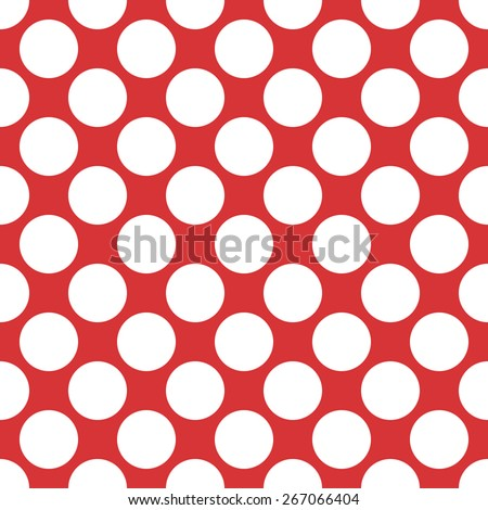 Seamless pattern polka dot style thick large circles on a monophonic background of red and white - stock vector