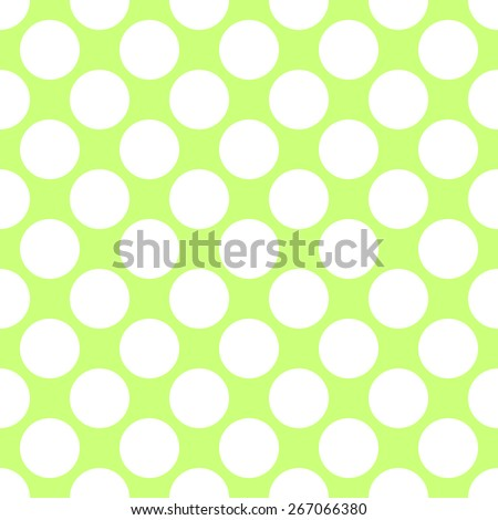 Seamless pattern polka dot style thick large circles on the plain background light green and white - stock vector