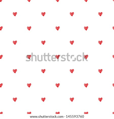 Seamless pattern. Polka heart texture in doodle style. Vector illustration - stock vector