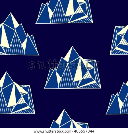 Seamless pattern polygonal graphic mountains, icebergs. Mountain range in origami style.minimalistic polygon islands with mountains. olygonal hipster print template or tattoo design. - stock vector
