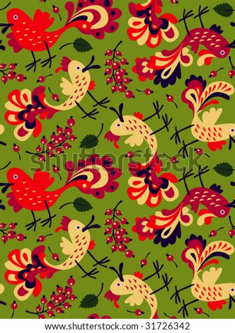 seamless pattern: red birds and berries - stock vector