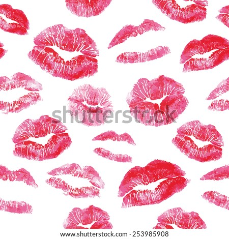 Seamless pattern - red lips kisses prints background - stock vector