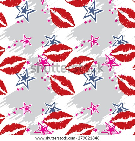 Seamless pattern  red lips with stars. Seamless pattern can be used for wallpaper, pattern fills, web page backgrounds, surface textures. - stock vector