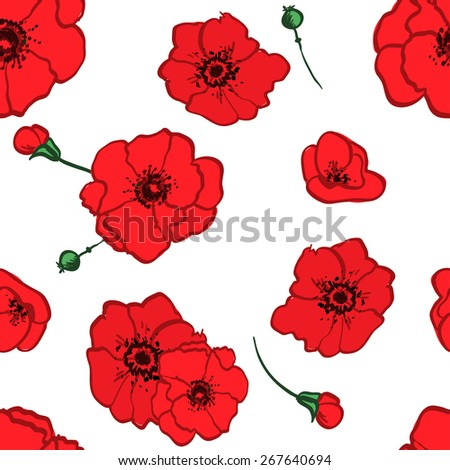 seamless pattern red poppies branch decorative vector illustration - stock vector