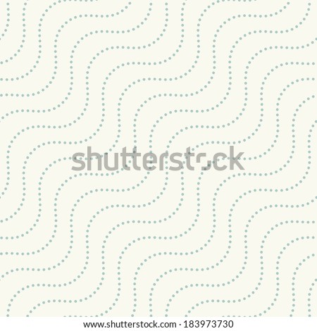 Seamless pattern. Repeating texture with diagonal wavy dotted lines - stock vector