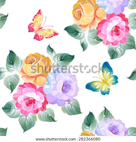 Seamless pattern roses and butterflies. Watercolor painting. Vector illustration. - stock vector