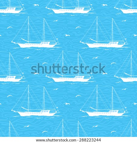 Seamless Pattern, Sailboats Ships and Birds Gulls in the Sea, White Silhouettes on a Blue Background with Symbolical Waves. Vector - stock vector