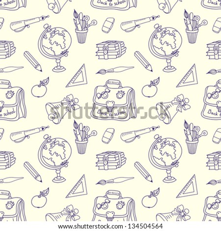 Seamless pattern. Scribble in a writing-book. The school tools. Vector background.