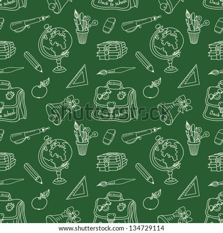 Seamless pattern. Scribble on a blackboard. The school tools. Vector background.