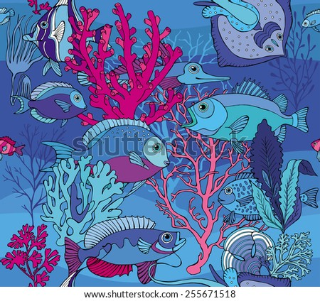 Seamless Pattern Sea Fish Corals Underwater Blue - stock vector