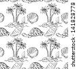 Seamless pattern. Sea island with palm trees, boat, turtles, shells. Black contour on white background. Vector - stock photo