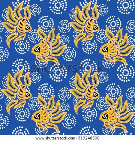 Seamless pattern.Seamless background beautiful  batik with fish ornament. - stock vector