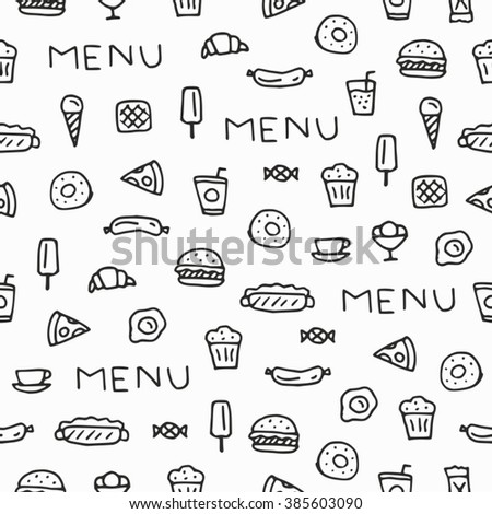 Seamless pattern - Seamless background - Sketch - Drawn by hand - Menu - Food - Drink.