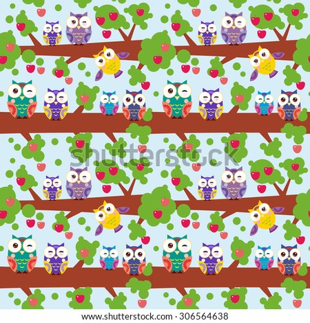 seamless pattern set bright colorful owls on the branch of a tree with red apples on blue background. Vector - stock vector