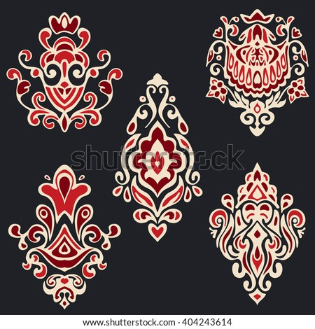 Seamless pattern set in vintage style. Abstract vector texture. Geometric flourish collection.