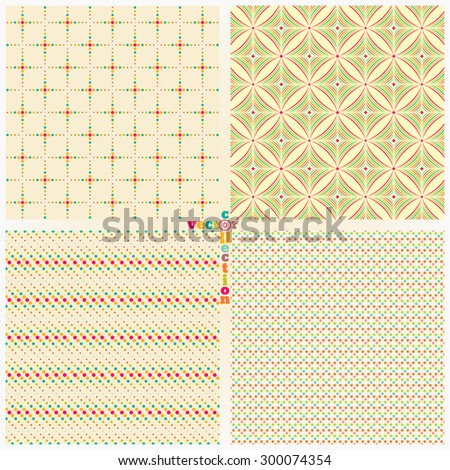 Seamless pattern. Set of four stylish abstract color backgrounds. Simple original colourful textures with regularly repeating geometrical shapes. Vector element of graphic design