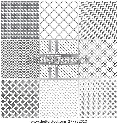 Seamless pattern. Set of nine stylish abstract backgrounds. Original textures with regularly repeating geometrical shapes. Vector element of graphic design - stock vector