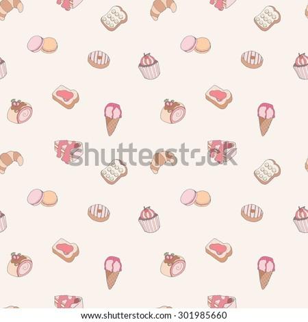 Seamless pattern set of sweet dessert - stock vector