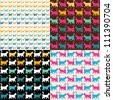 Seamless pattern. Set.  Texture with colorful cats with curved tails. Can be used for textile, website background, book cover, packaging. - stock vector