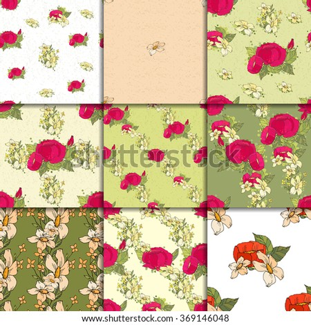 Seamless pattern set with red peonies and small yellow flowers on green beige and white  background. Nine vector backgrounds - stock vector