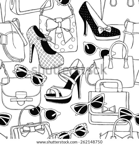 Seamless Pattern Shoes Bags Glasses Black & White  - stock vector