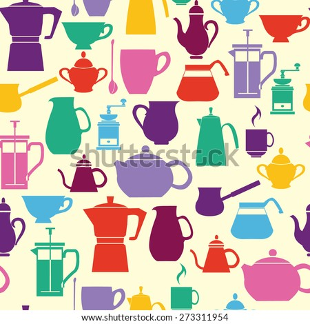 Seamless pattern  Silhouettes Coffee and Tea Pots with Cups. Coffee and tea time background- Illustration  - stock vector