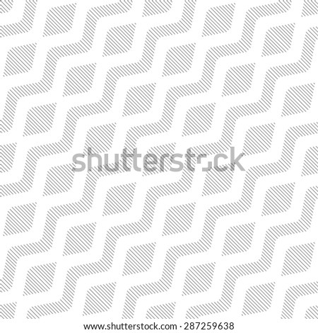 Seamless pattern. Simple geometric texture with lines. Monochrome. Backdrop. Pattern with regularly repeating rhombuses, lines, waves, zigzags. Vector element of graphic design for your project - stock vector