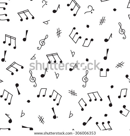 Seamless pattern sketch on a musical theme, notes, music, treble clef, bass clef, black contour on a white background
