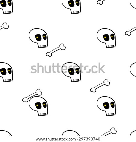 seamless pattern, skull vector art  background design for fabric and decor - stock vector