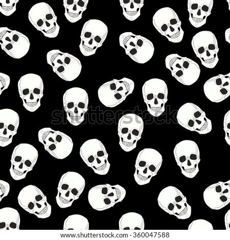 seamless pattern skulls on a black background.Vector Illustration - stock vector