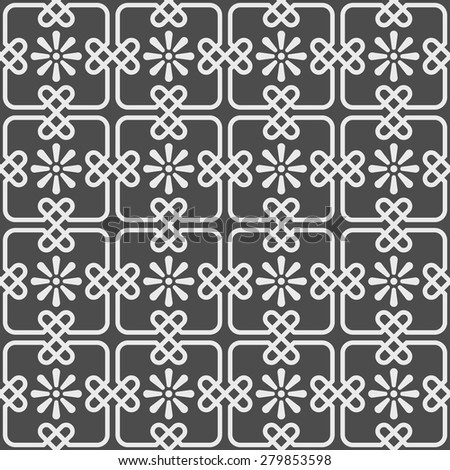 Seamless pattern - square tiles joined by hart shaped knots and stylized flowers in grey and pale blue. Repeating geometrical abstract background inspired by the portuguese pavement. Editable vector. - stock vector