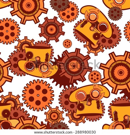 seamless pattern Steam punk mechanism with metal parts in the spare parts - stock vector