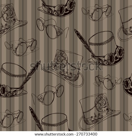 Seamless pattern Steampunk with steampunk top hat and brass goggles - stock vector